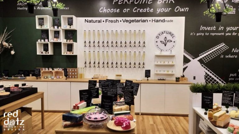organic shop display wall design malaysia