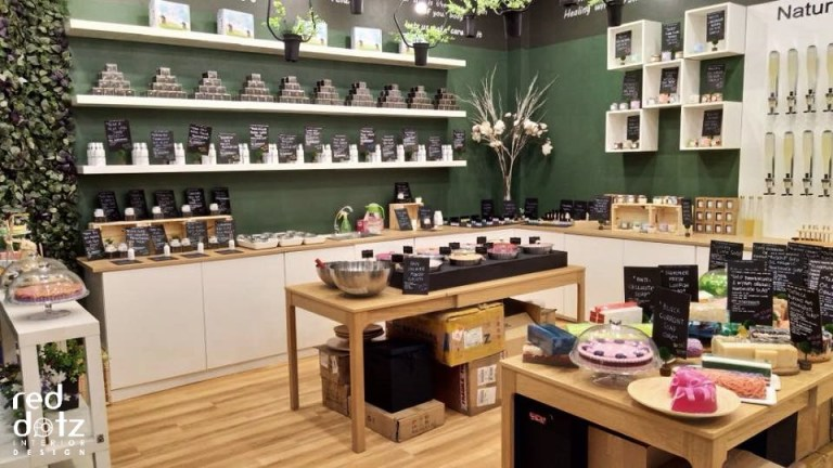 organic shop display shelving design malaysia
