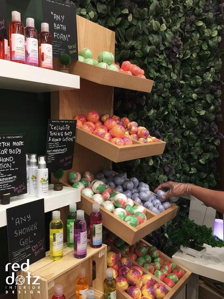 skin care shop display shelving design malaysia